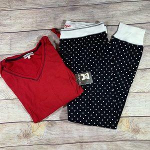 PJ salvage two piece pajama set red top black pant